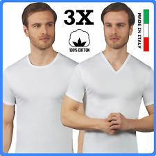 Set 3 maglia intima uomo cotone scollo a V maglietta girocollo t-shirt intimo da