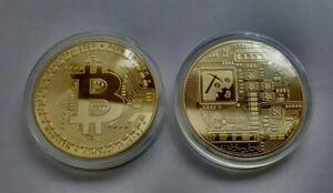 1x Bitcoin Münze Gold Sammler Medaille Geschenk BTC Coin Krypto Währung