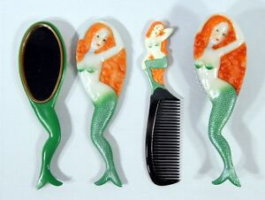 Hand Painted Art Hair Brush Mirror Comb Green Mermaid Design (Set of 3) C044M