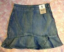 BNWT Primark High Waist Peplum Light Blue Denim Skirt Size UK 8