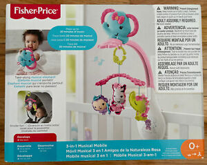 Fisher-Price 3-In-1 Musical Mobile Music Crib Elephant Infant Baby Toy