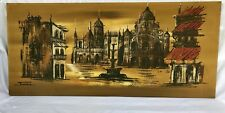 Vintage Mid-Century Modern Expressionist Abstract Oil Painting Cityscape