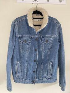Top Shop Moto Denim Jacket Fleeced Lined Size 12