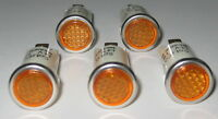 5 X Amber w/ Steel Bezel Panel Mount Round Indicator Light - Solico 14V - 1 Watt