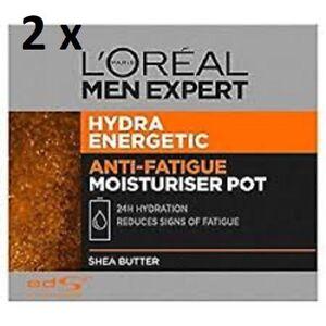 2 x L'OREAL MEN EXPERT HYDRA ENERGETIC DAILY MOISTURISER POT 50ml NEW BOXED