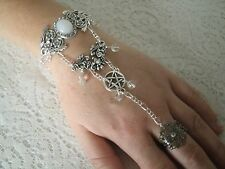 Moonstone Pentacle Hand Chain Slave Bracelet wiccan pagan wicca witch witchcraft