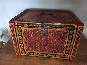 Ancienne Boite Coffret Bijoux Bois Artisanal  Ethnique Art Populaire