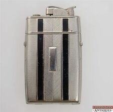 Vintage Evans Cigarette Lighter Combination Case Compact Refillable Silver Black