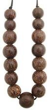 Long Coconut Wood Round Bead Chunky Statement Necklace - Women and Men - Unisex