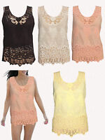 Ladies Lace Tank Top Sleeveless T-shirt Vest Women's Summer Embroidery Blouse