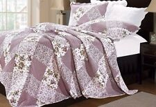 Lilac Luxury Vintage Floral Patchwork Quilt Bedspread Throw & 2 Pillowcases