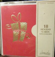 New box Image Arts Christmas Cards red with Gold Foil Gift metallic presents 18