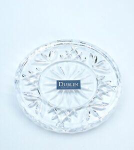 Godinger Crystal Dublin Glass Coasters Set of 4 Cup Coaster Drink Bar Table NIB