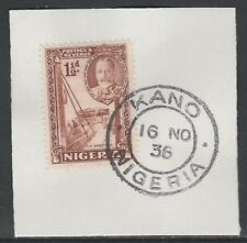 Nigeria 5530 - 1936 KG5 1.5d Pictoria on piece with MADAME JOSEPH FORGED CANCEL