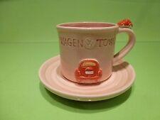 VINTAGE TEA CUP + SAUCER VW VOLKSWAGEN - WAGEN TOWN - PINK H6.0cm - GOOD