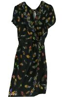 Warehouse Black Multi Silk Feather Printed Faux Wrap V Neck Dress Size 10 S