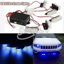Auto 6x 3 LEDs luci Flash Blu Emergenza Allarme Barra Strobe Striscia Lampada