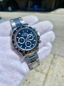 Rolex Daytona Cosmograph 116520 Black Dial Custom Ceramic Bezel Men's Watch