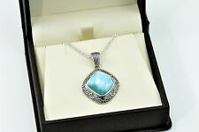 Larimar 14X14mm Cushion Cut Natural Beautiful Necklace .925 Sterling Silver