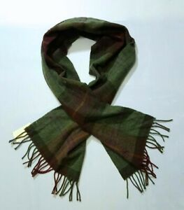 POLO RALPH LAUREN 100%  LAMBS WOOL  PLAID GREEN/BROWN  FRINGE PONY  SCARF