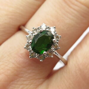 925 Sterling Silver Real Chrome Diopside & White Topaz Gemstone Ring