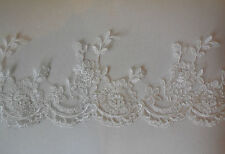 Ivory floral lace trim Bridal Wedding lace trim Dress trimmings Sold by Per Yard