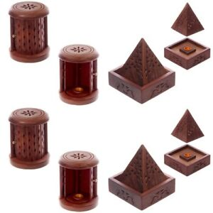 Wooden Incense Pyramid insence Cone burner or Wood Carved Barrel with Door new