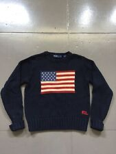 Vintage 90s Polo Ralph Lauren USA Flag Knit Sweater Made In Japan RRL Small Kids