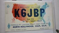 OLD VINTAGE QSL HAM RADIO CARD POSTCARD, NORTH HOLLYWOOD CALIFORNIA 1959