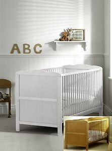 White Baby Cot Bed 140x70 or 120x60cm Cotbed Mattress, Junior Bed,Drawer