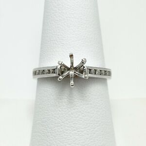 14k White Gold Natural Diamond Engagement Ring Mount (9532)