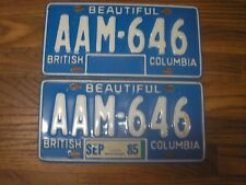 1985 British Columbia 33 year old Passenger License Plate Set AAM 646