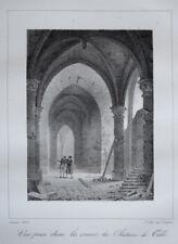 Ruines Chateau Tille CHARLES CONSTANS LITHOGRAPHIE d apres ARNOUT Gravure 1823