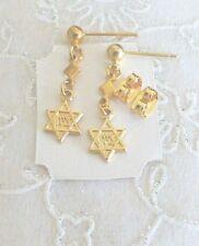 New Gold Star of David Jewish Star Dangling Earrings