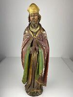 Große antike Heiligenfigur Bischof Skulptur Holz geschnitzt farbig gefasst 72 cm