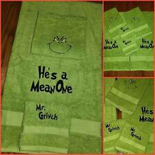 Grinch Towel Bath Set He's a Mean One! 3 pc Grinch Decor or Grinchmas Gift �.🎄