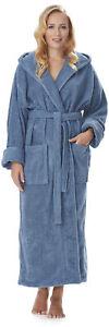 Arus-Damen-Bademantel mit Kapuze, extra lang aus 100 % Bio-Baumwolle