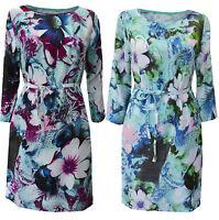 New White Stuff size 8 - 18 Floral Print Green Aqua Purple Shift Tea Dress