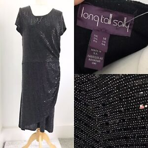 Long Tall Sally Black Sparkly Sequin Party Dress 18