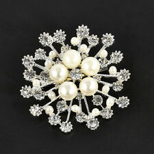 Wedding Bridal Rhinestone Crystal Silver Gold Flower Bouquet Brooch Pin Jewelry