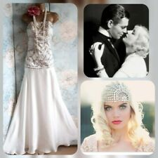 Designer Sue Wong ivory beaded 20s 30s deco gatsby bride Wedding evening dress 8