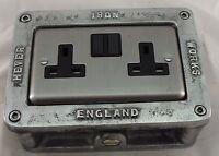 Cast Metal Vintage Industrial Double Power Socket Pattress Box - BS EN Approved
