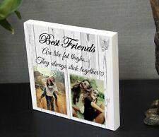 Personalised Best Friends Sisters Solid Wood Plaque Keepsake Gift Photo Block