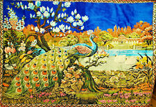 "Vintage Large Peacock & Swan Tapestry Wall Hanging / Rug Colorful 58"" x 39"""