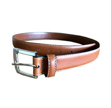 Brooks Brothers Mens Square Silver Buckle Genuine Leather Belt,Brown,40Sz 8728-3