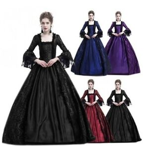 Fashion Women's Victorian Gothic Dress Ruffle Steampunk Evening Vintage Costume