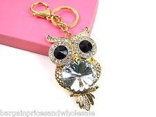 Large Clear Owl Keyring Sparkling Rhinestone Diamante Handbag Buckle Charm