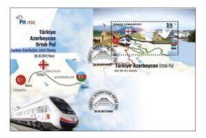 TURKEY 2017 (FDC) - JOINT STAMP WITH AZERBAIJAN, BAKU, TBILISI, TRAINS, GEORGIA