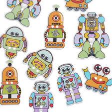 Robots Wooden Craft Embellishments x 10 Crafts, Card Making, Scrapbooking