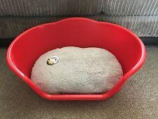 SMALL RED PLASTIC PET BED CAT DOG BASKET LUXURY GREY FLEECE WASHABLE CUSHION